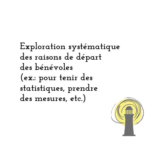 Exploration systématique des raisons de départ des bénévoles (Ex.: pour tenir des statistiques, prendre des mesures, etc.)