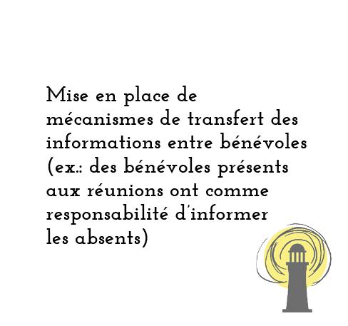 Mise en place de mécanismes de transfert des information entre bénévoiles (ex : des bénévoles présents aux réunions ont comme responsabilité d'informet les absents)