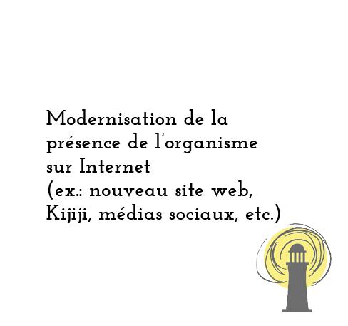 Modernisation de la présence de l'organisme sur Internet (ex.: nouveau site web, médias sociaux, Kijiji)