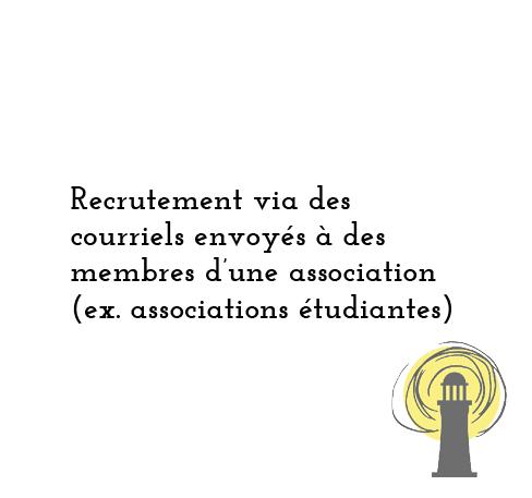 Recrutement via des courriels envoyés à des membres d'une association (ex. associations étudiantes)